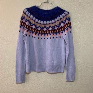 Crewcuts Sparkle Lavender Wool Fair Isle Sweater